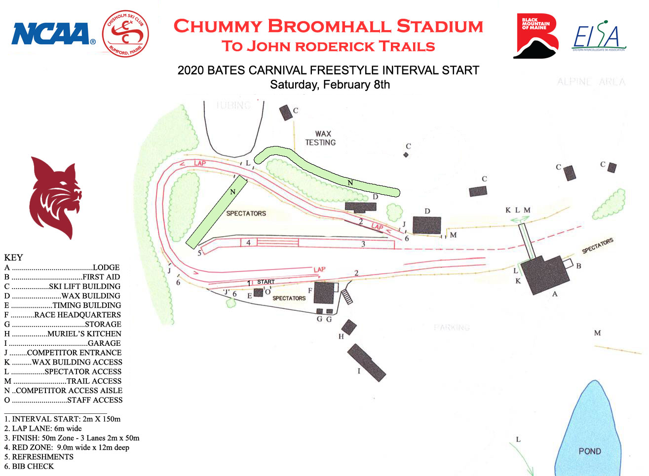 2020 Bates Carnival freestyle interval start stadium map